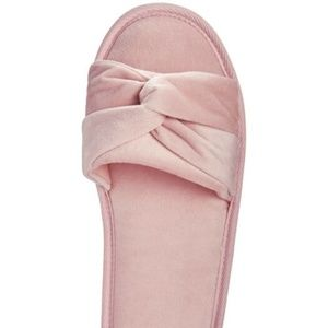 Charter Club Shoes - Charter Club Twisted Open Toe Velour Slippers